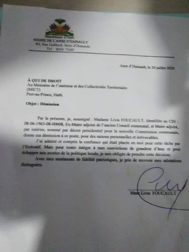 Anse D'Hainault : Un membre du conseil municipal par intérim démissionne.