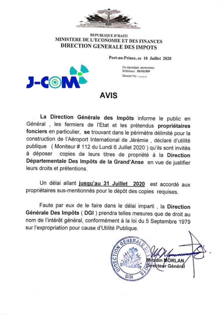 Construction de l'Aéroport international de Jérémie : L'ultimatum de la DGI aux proprietaires fonciers